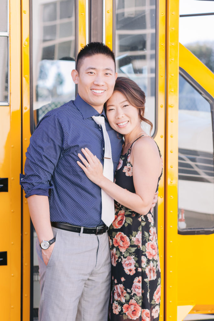 couple school bus classroom themed engagement
