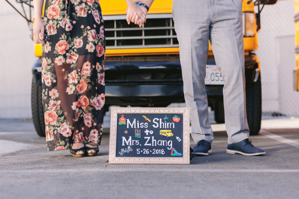 couple engagement school bus