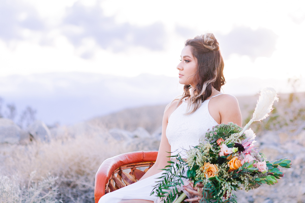 boho elopement bride