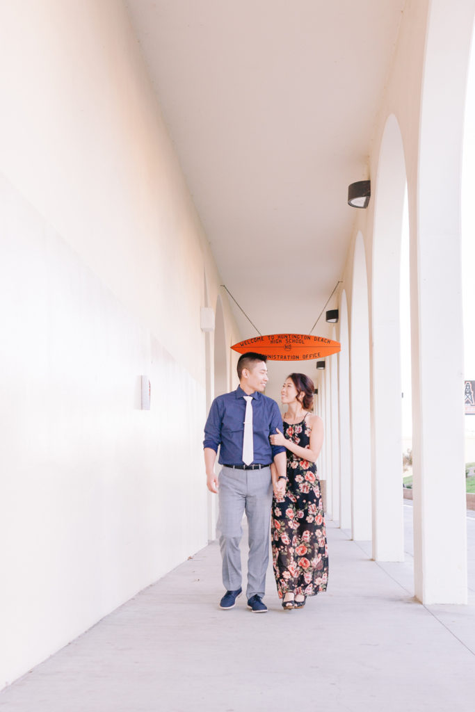 couple classroom building walking