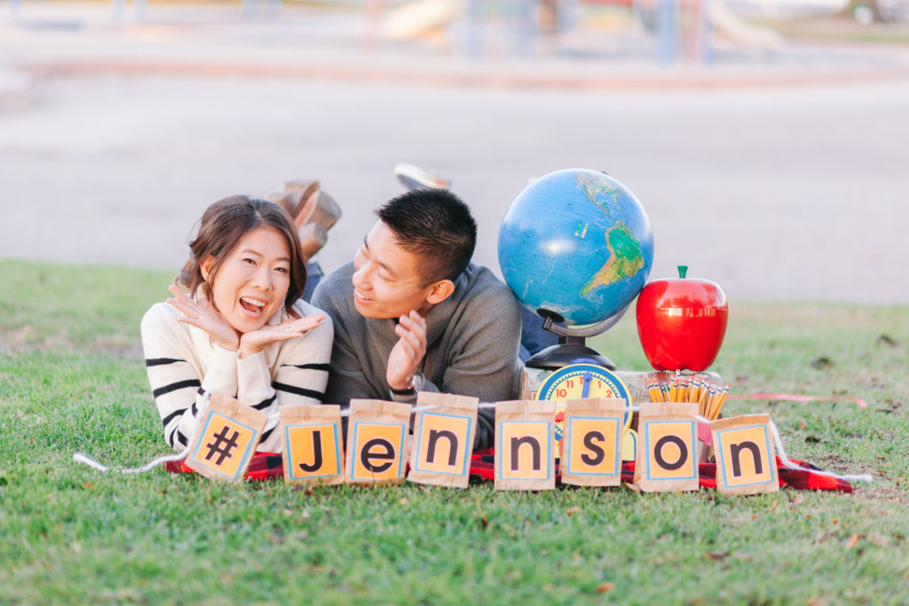 couple engagement school globe classroom apple teacher playground