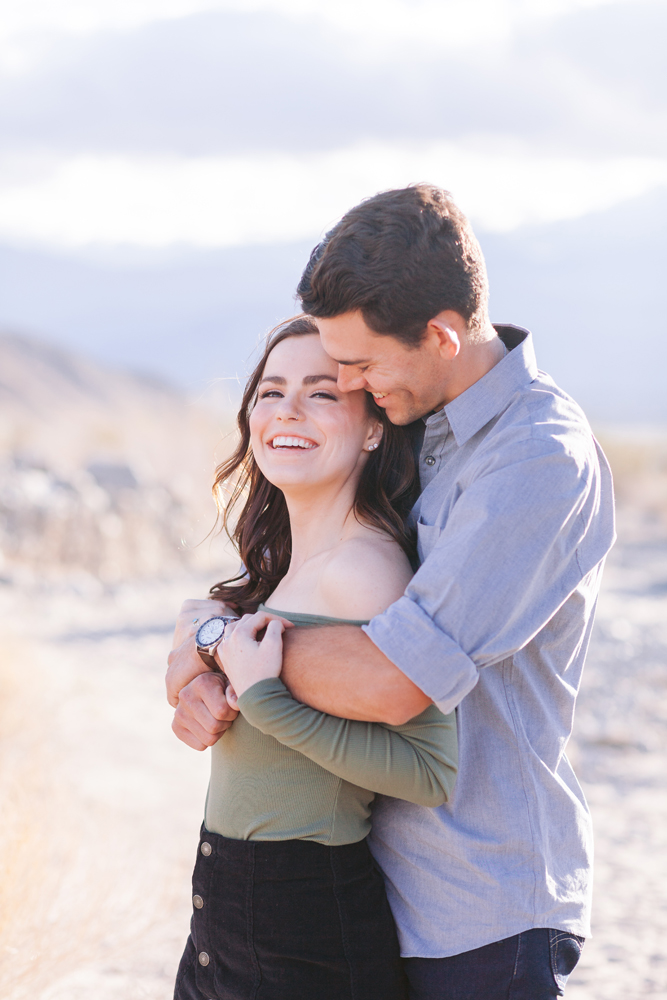 indio couple laughing engagement session