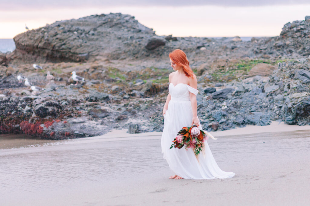beach sunset bride