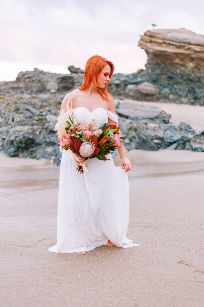 beach bride sunset