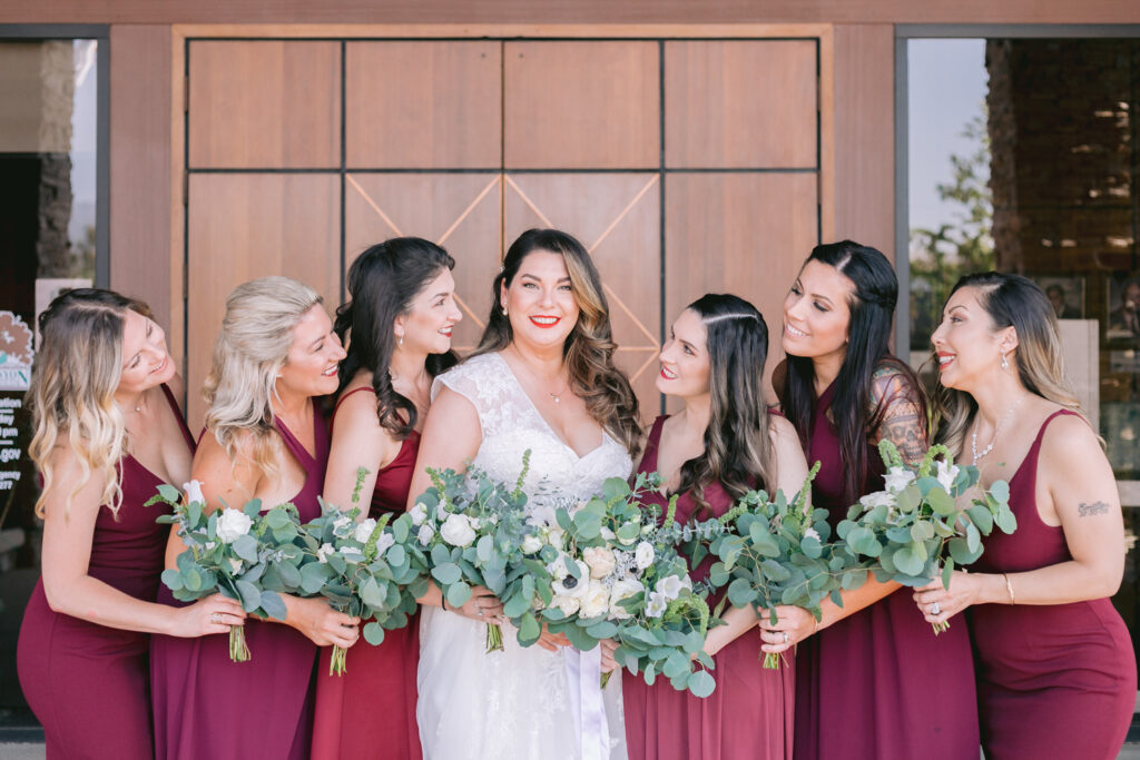 bridal party happy bouquet outdoor wedding