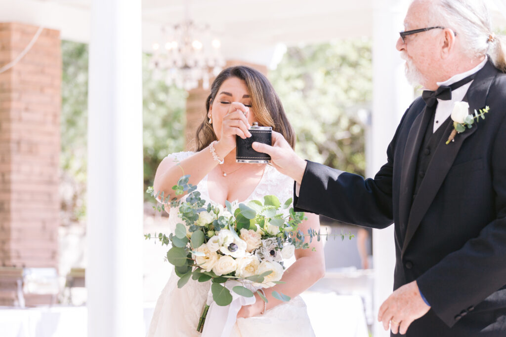 bride and father flask
