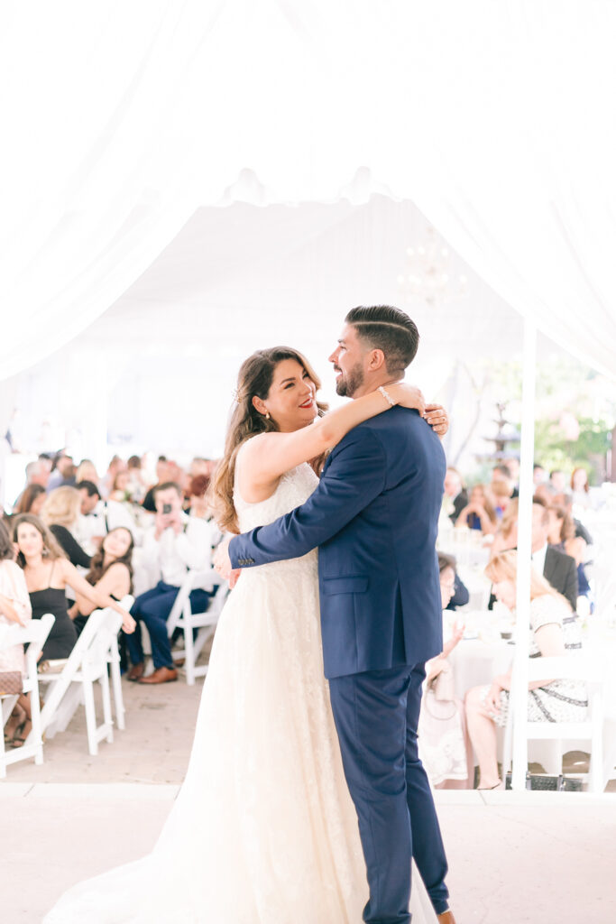 bride and groom first dance outdoor wedding