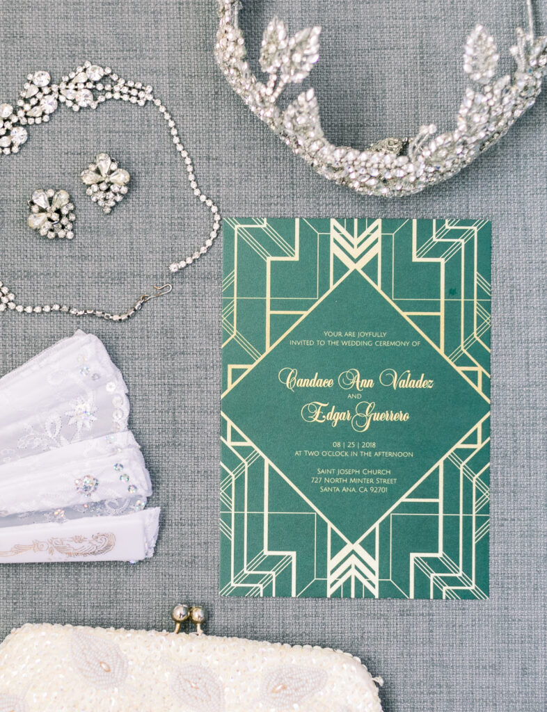 vintage glam wedding flat lay
