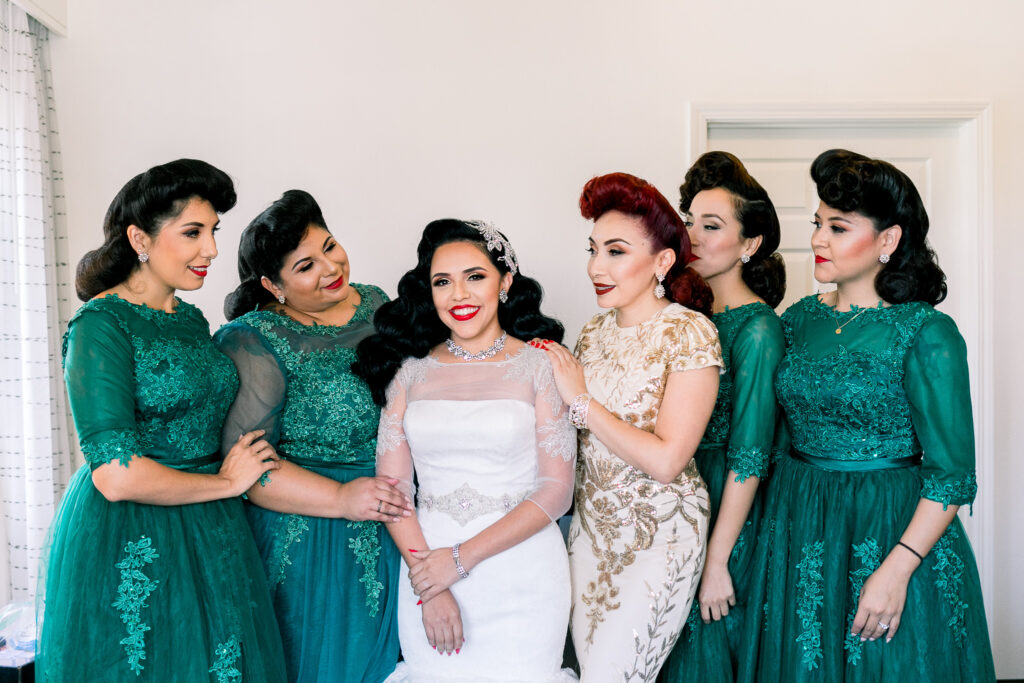 vintage glam wedding bridesmaids
