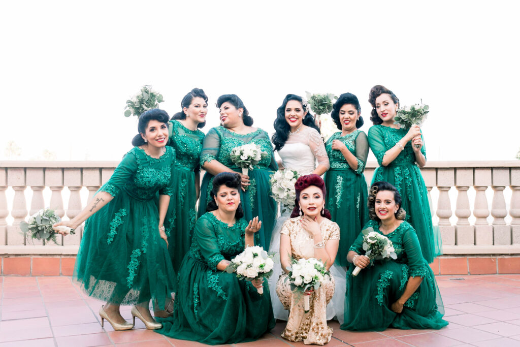 vintage wedding bridesmaids