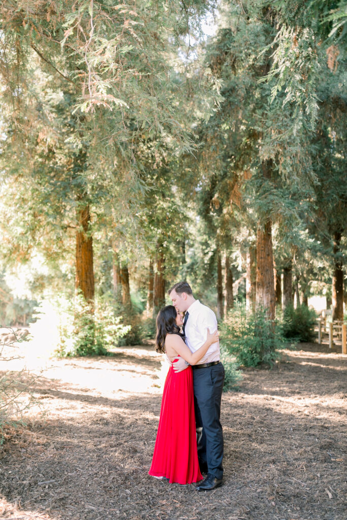 lush forest engagement carbon canyon couple red dress