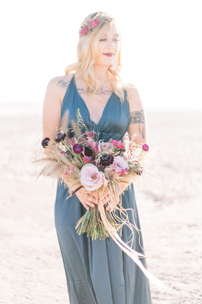 floral beach engagement