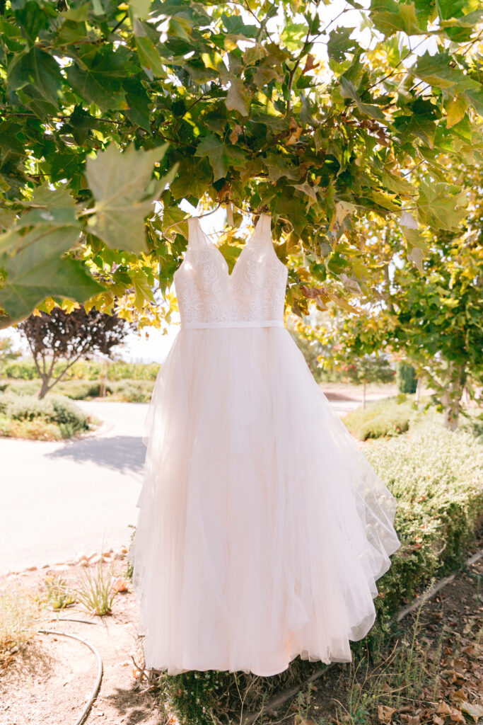 romantic vineyard wedding wiens wedding dress