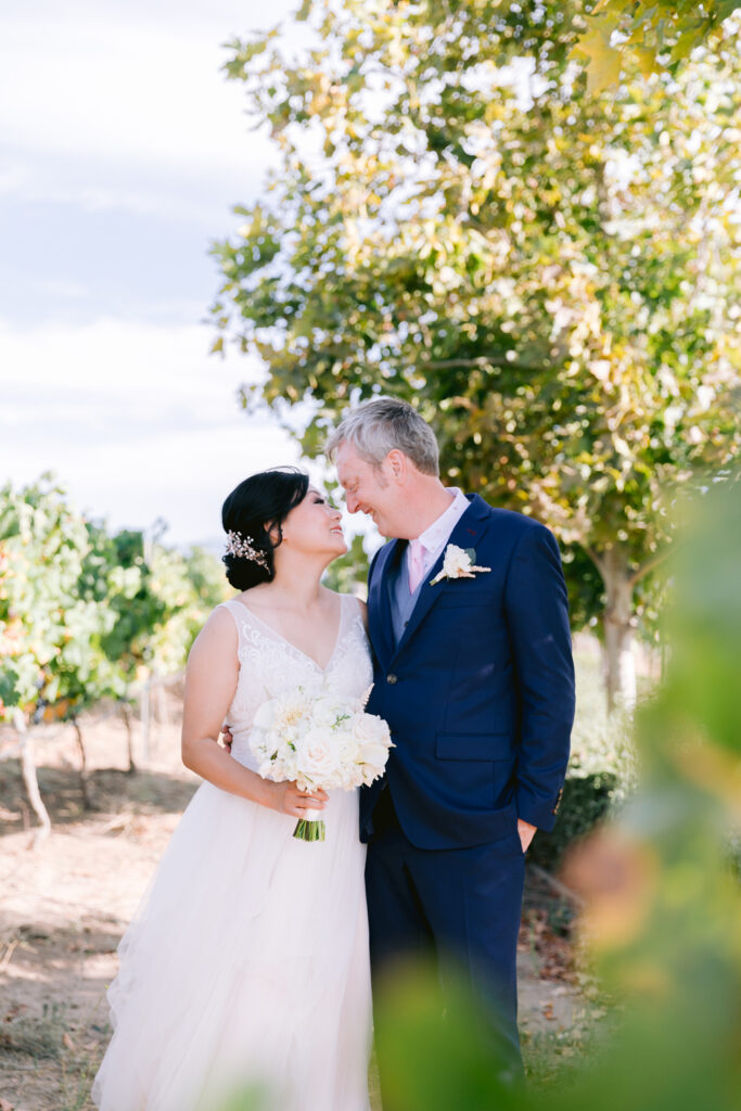 wiens winery wedding couple first look